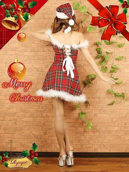 【即納】 【サンタコスプレ3点セット】3点set!オリジナル!ふわふわファーがアクセントな肩見せチェック2ピースサンタコスプレ キャバクライベントやクリスマスパーティーに◎