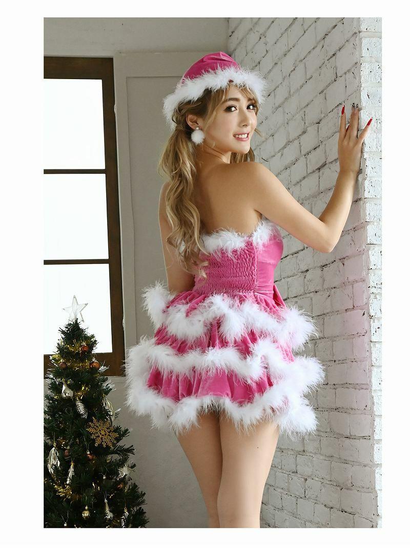 【即納】【サンタコスプレ3点set】可愛いピンクベロアリボンサンタコスプレ ファー付きベアワンピースキャバクライベントやクリスマスパーティーに◎