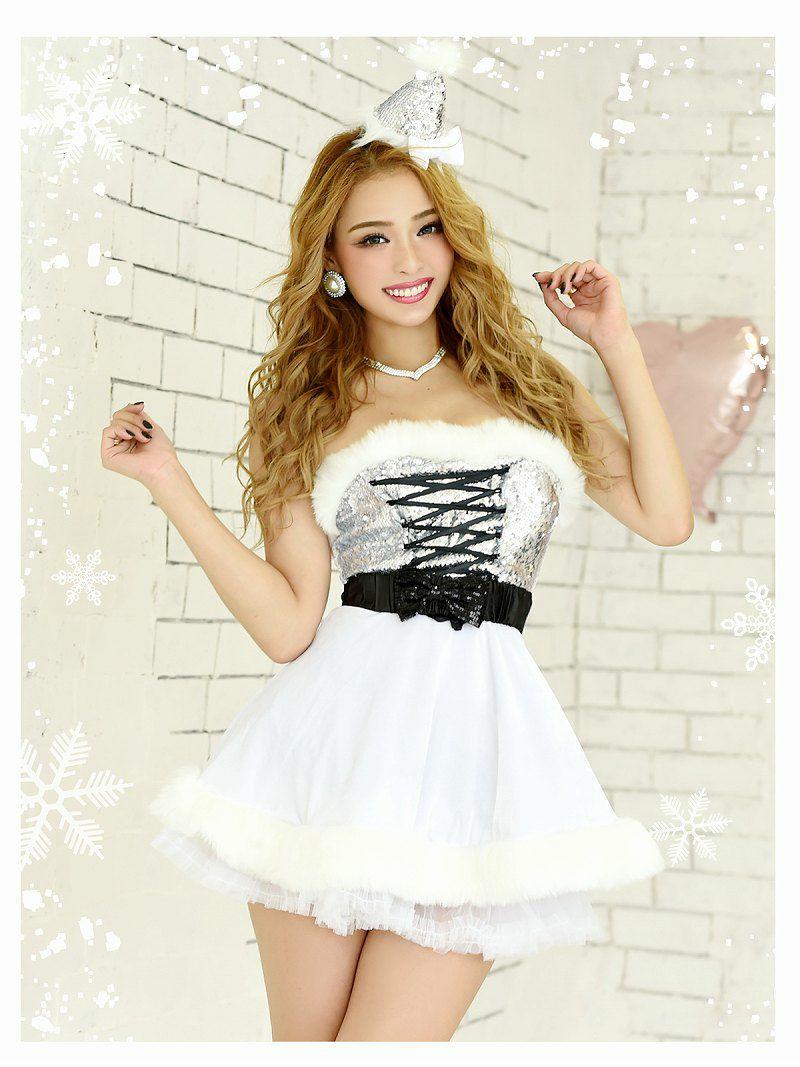 【即納】【サンタコスプレ5点セット】煌めくスパンコールシルバーベアサンタコスプレ ベルト付きフレアクリスマス衣装キャバクライベントやクリスマスパーティーに◎