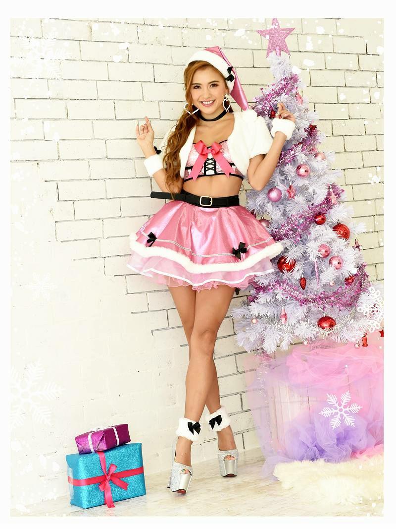 【即納】 【サンタコスプレ9点セット】キラキラピンクセットアップサンタコスプレ Aラインファーボレロ付きクリスマス衣裳キャバクライベントや双子コーデに◎