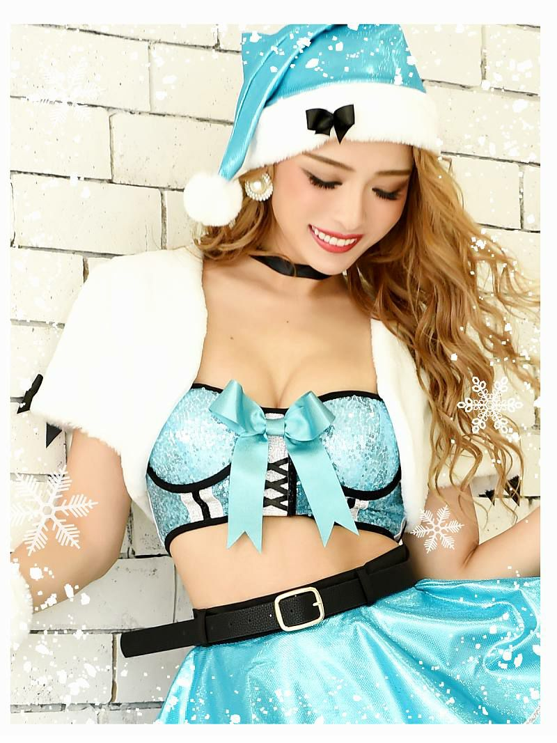 【即納】 【サンタコスプレ9点セット】2WAYファーボレロ付きキラキラ青色サンタコスプレ フレアお腹魅せクリスマス衣装キャバクライベントやクリスマスパーティーに◎