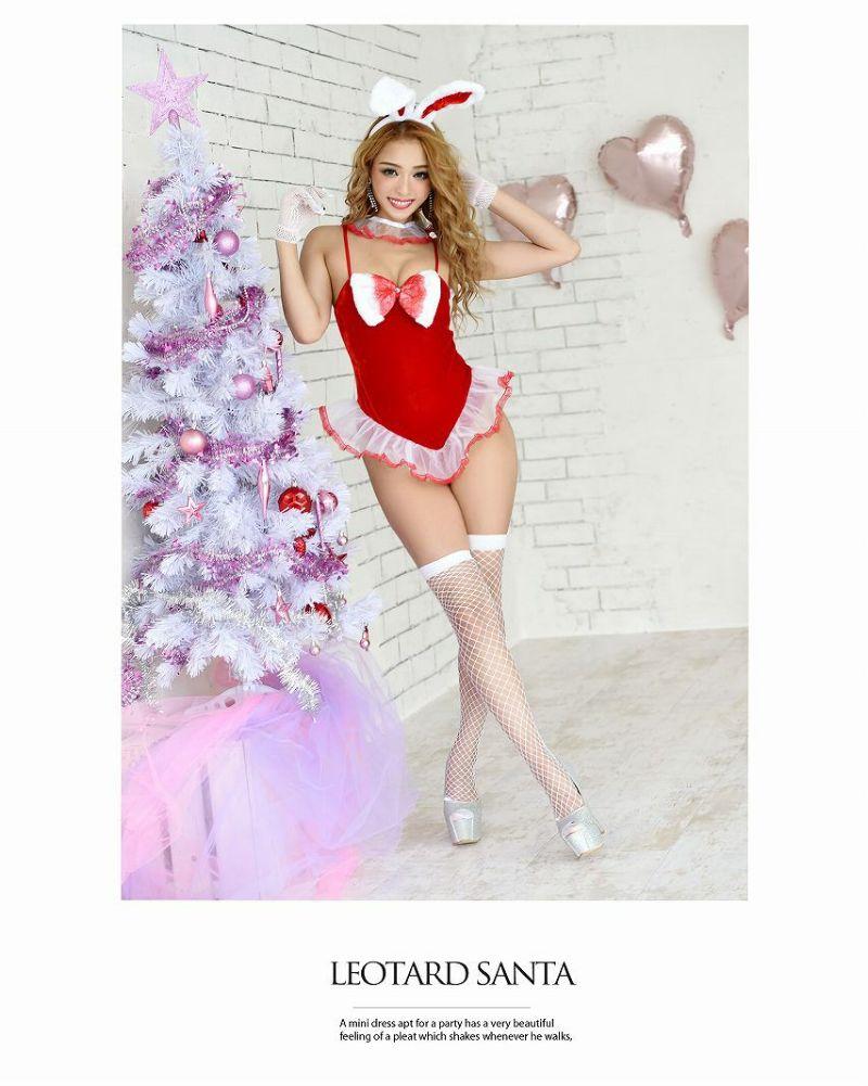 【即納】【サンタコスプレ5点set】キャミレオタードバニーサンタコスプレ ウサギクリスマス衣裳キャバクライベントやクリスマスパーティーに◎