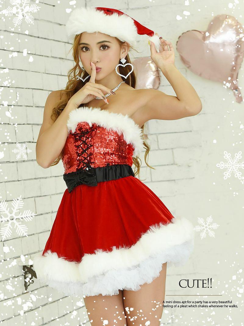【即納】【サンタコスプレ5点セット】煌めくスパンコール赤色リボンベアサンタコスプレ ベルト付きAラインパーティー衣装キャバクライベントや双子コーデに◎