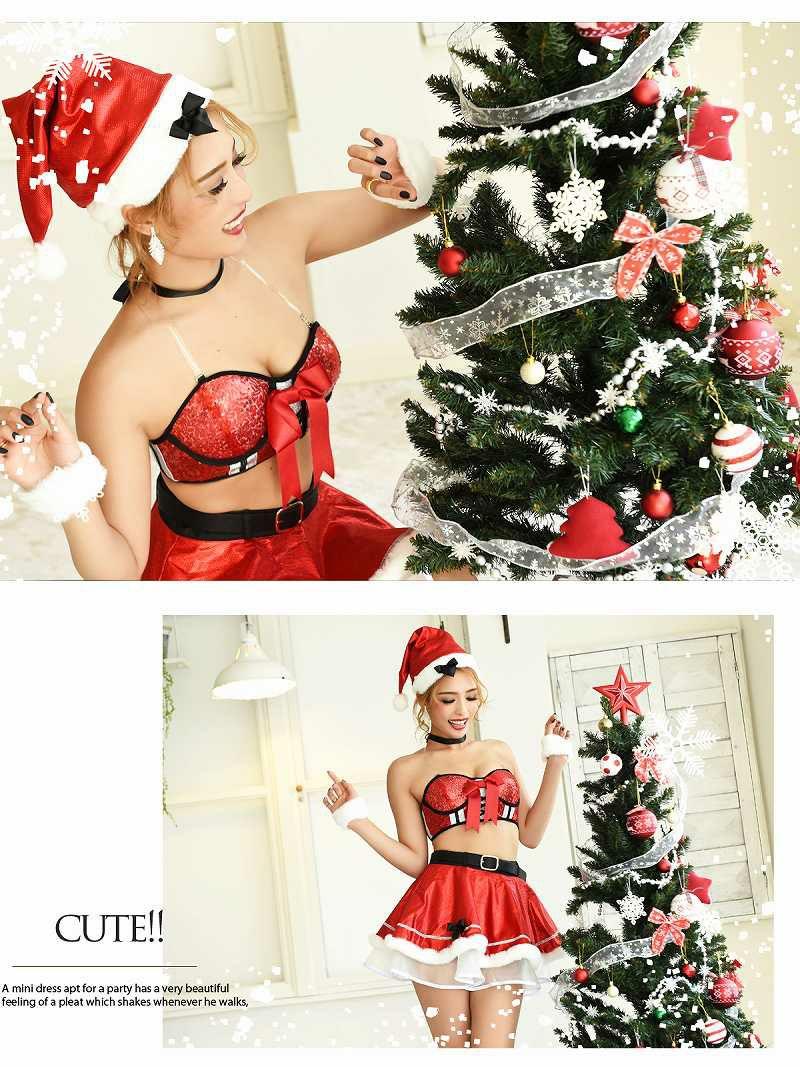 【即納】 【サンタコスプレ9点セット】2WAYキラキラビスチェ赤色2pサンタコスプレ ファーボレロ付きフレアクリスマス衣裳色違いでオソロコーデに◎