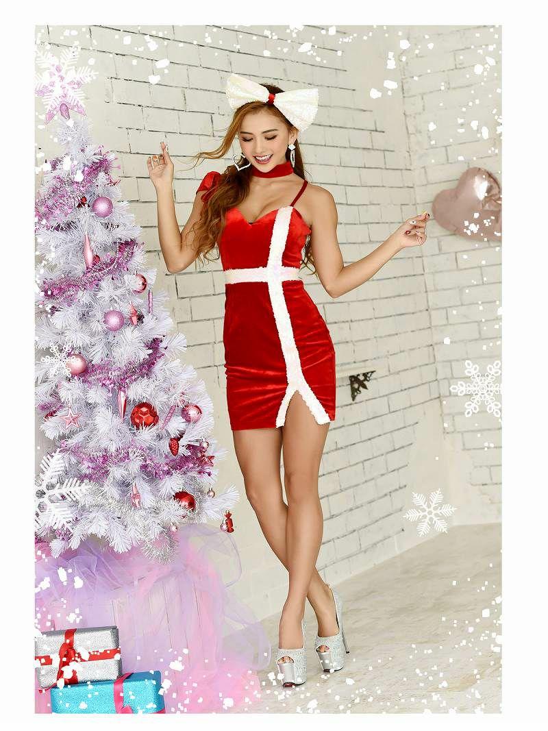 【即納】【キャバサンタ2点セット】プレゼントモチーフチョーカーリボンワンショルダーサンタコスプレ 谷間魅せベロアサンタ衣装クリスマスイベントやキャバクラにも◎