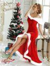 【即納】【サンタコスプレ1点セット】リボンモチーフオフショルマーメイド赤サンタコスプレ【Ryuyu】【リューユ】ファー深スリットベロアロングサンタコス衣装キャバクライベントやクリスマスパーティーに◎