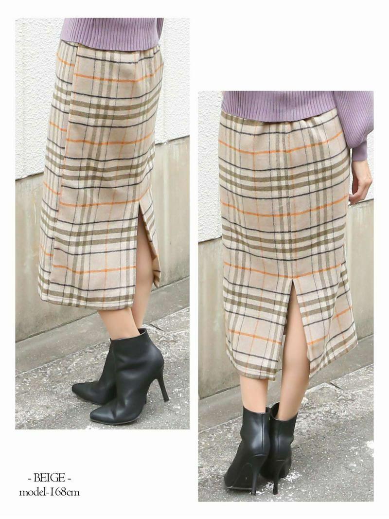 【Rvate】ウール混チェック柄スカート 膝下丈ウエストゴム表起毛スカート