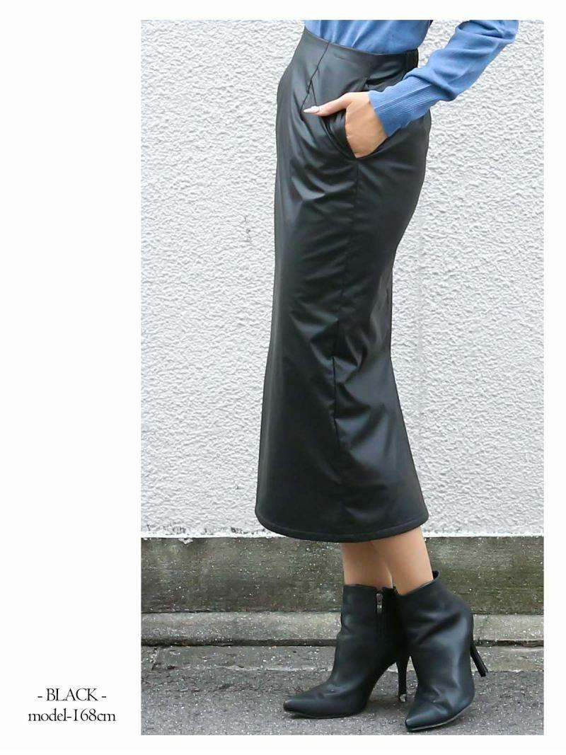 【Rvate】フェイクレザーミモレ丈タイトスカート スリットバックゴムスカート