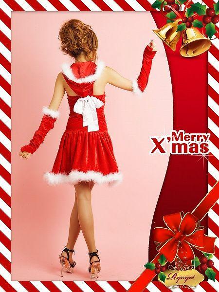 【即納】【サンタコスプレ2点セット】2点set ふわもこサンタワンピ キャバクライベントやクリスマスパーティーに◎
