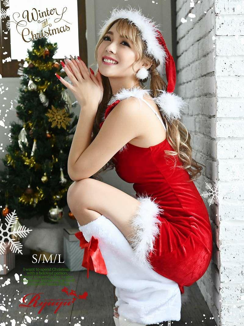 【即納】【サンタコスプレ3点set】リボンショルダーキャミ帽子付きサンタコスプレベロア赤サンタコスチュームキャバクラのクリスマスイベントでオトコ受け◎