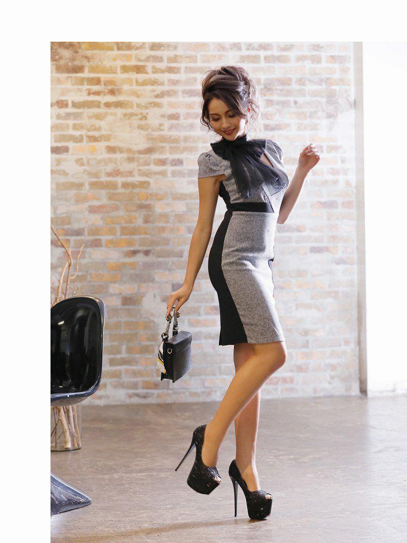 ネックリボンツイードキャバクラドレス ゆきぽよ 着用キャバドレス【Ryuyu】【リューユ】袖付きタイトミニドレス