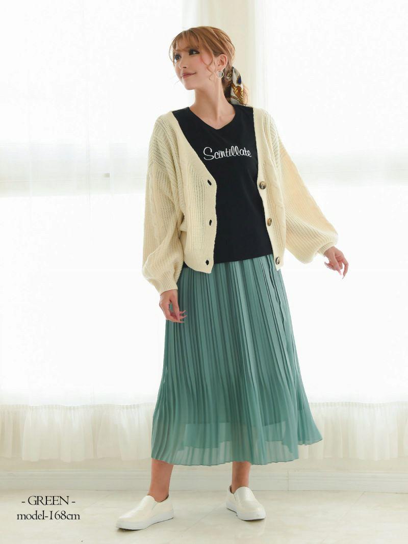 【Rvate】プリーツレイヤード風マキシスカート ウエストゴム無地ロング丈フレアスカート