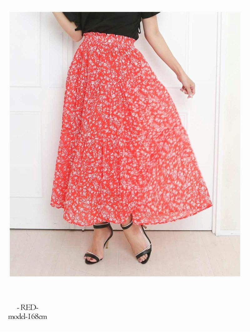 【Rvate】小花柄ウエストゴムロングスカート 裏地付きフレアスカート
