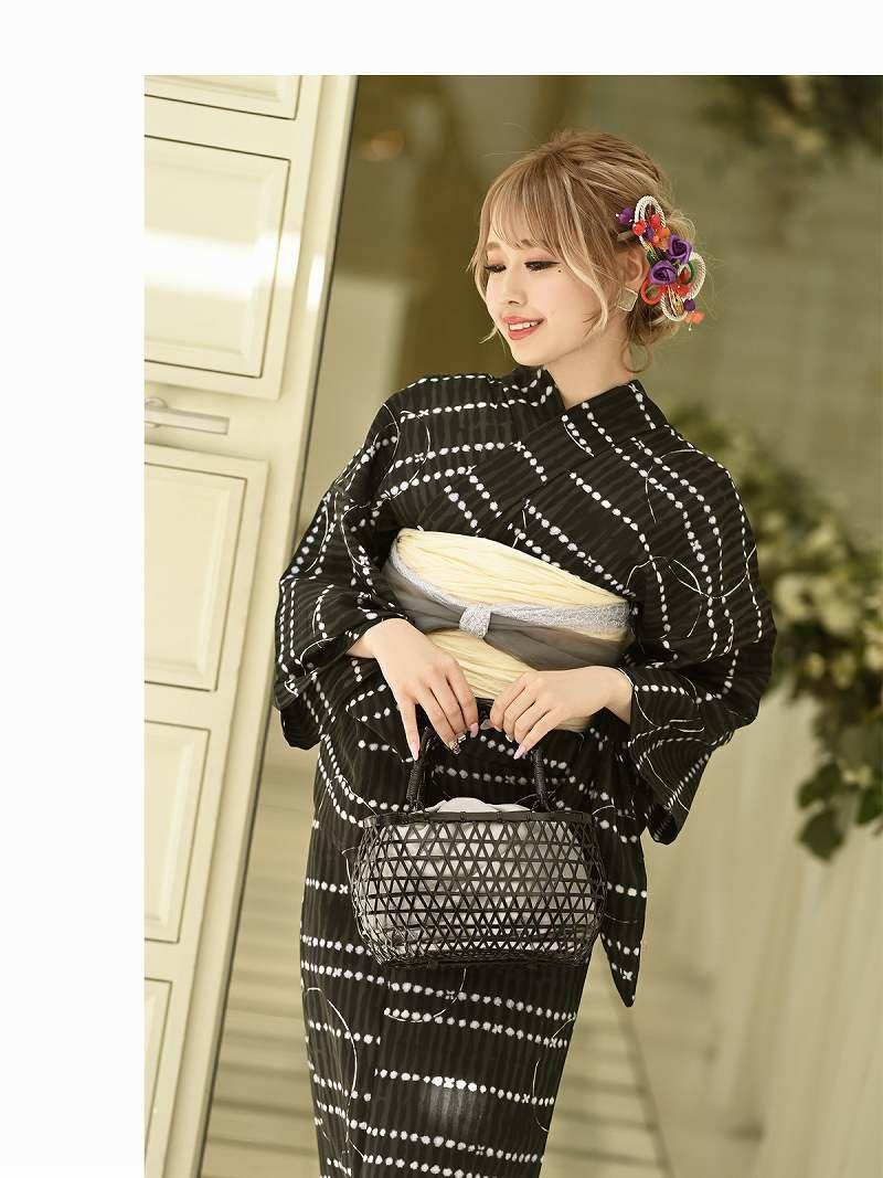 【即納】古典柄ドット風デザインモノトーン ゆずは 着用レディース浴衣3点セット(フリーサイズ)(ブラック)