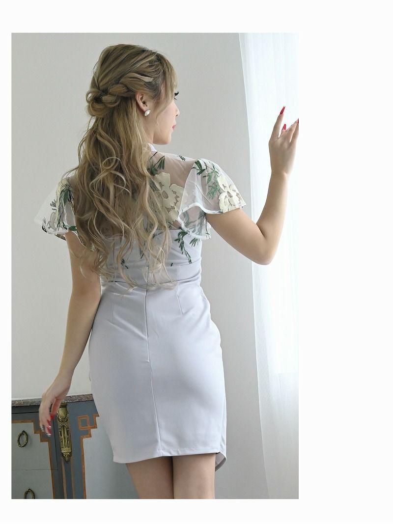 半袖リボンタイ付きラップスカートキャバドレス【Ryuyu】【リューユ】シアーメッシュ花刺繍ミニドレス【キャバ嬢さん応援セット対象】