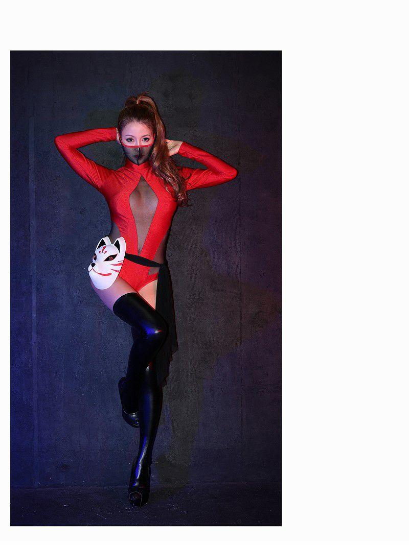【即納】【キャバコスプレ3点セット】赤×くのいち高級コスプレ sexy姫忍者ボディースーツコスチューム♪