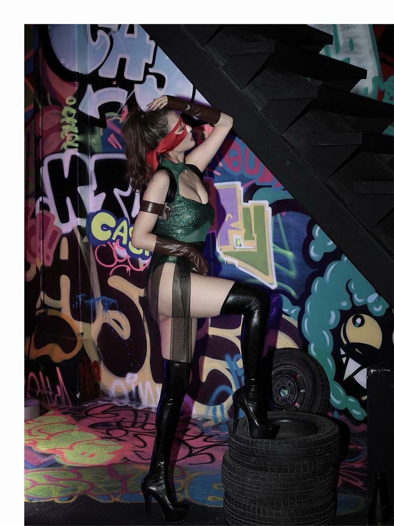 【即納】【キャバコスプレ6点セット】アメコミ風タートルズキャバコスプレ 周りと差をつけれる!!女戦士ハロウィン仮装イベントやテーマパークに♪