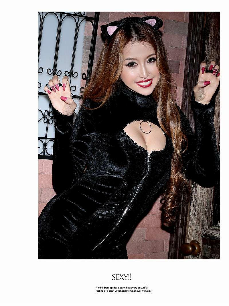 【即納】【キャバコスプレ1点セット】黒猫×バスト盛りアメコミ風キャバコスプレ ベロア×高級ブラックキャット・ウーマン女性用コスチューム