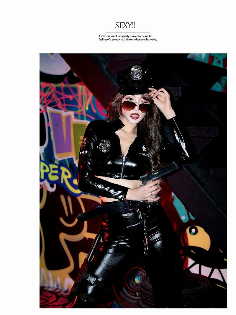 【即納】【キャバコスプレ7点セット】フルセットBLACKsexyポリスキャバコスプレ 高級セットアップ警官レディースコスチューム