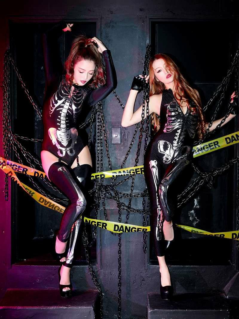【即納】【キャバコスプレ2点セット】SEXYスケルトンホラー系ゾンビキャバコスプレ 双子コーデで更に映え♪スカル×ボディースーツ女性用コスチューム