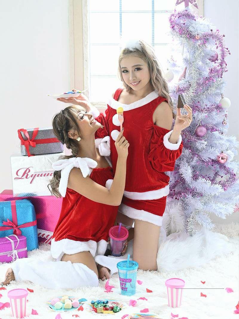 【即納】【サンタコスプレ3点セット】ルームウェア風おうちサンタ!まあみちゃん 着用リラックスキャバサンタ キャバクライベントやクリスマスパーティーに◎