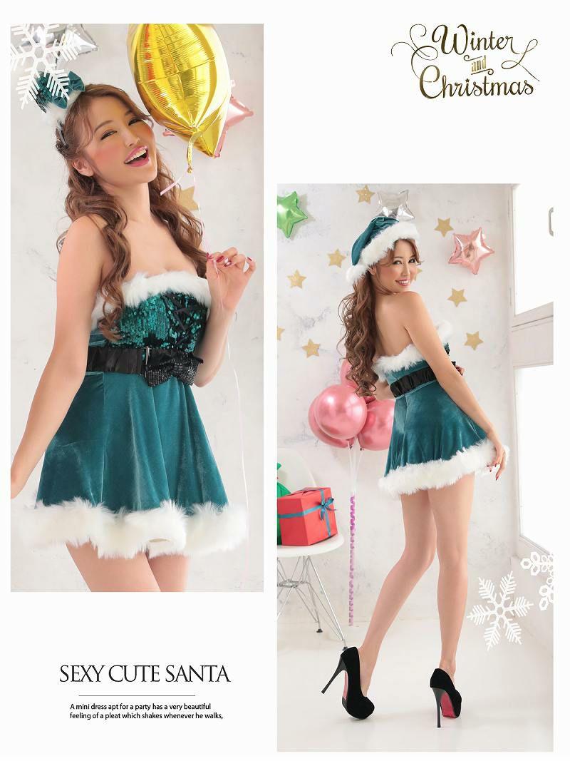 【即納】【サンタコスプレ5点セット】胸元スパンコールドレッシーキャバサンタ 双子コーデも◎Aラインベアサンタコスプレ キャバクライベントやクリスマスパーティーに◎