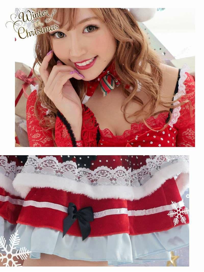 【即納】【サンタコスプレ5点セット】ドール風ロリータAラインキャバサンタ ラブリーレース袖サンタコスプレ キャバクライベントやクリスマスパーティーに◎