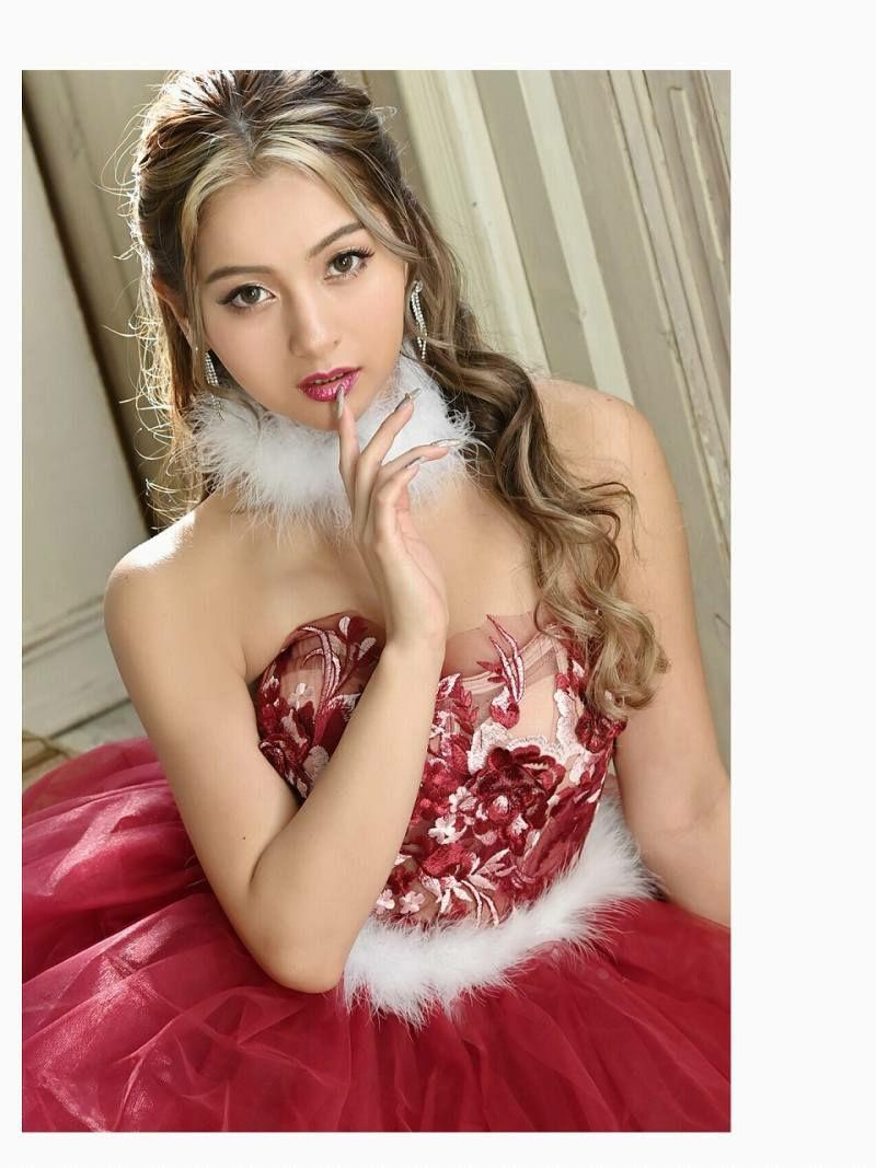 【即納】シアー立体花刺繍チュールAラインキャバドレス ゆきぽよちゃん 着用キャバサンタ【noalice By Ryuyu】【ノアリス】ファーセットベアサンタコスプレ キャバクライベントやクリスマスパーティーに◎