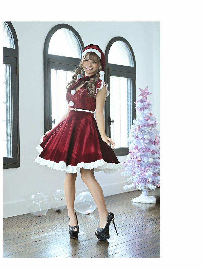 【即納】【サンタコスプレ3点セット】ボウタイリボンベロア膝丈Aラインキャバクラドレス 小田愛実 着用キャバサンタバーガンディフリル袖サンタコス キャバクライベントやクリスマスパーティーに◎