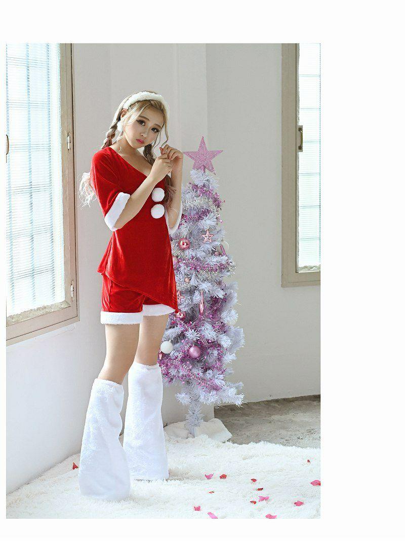 【即納】【サンタコスプレ3点セット】ルームウェア風リラックスミニ丈おうちサンタ 雨宮由乙花 着用キャバサンタアシンメトリーVネック楽ちんセットアップ キャバクライベントやクリスマスパーティーに◎