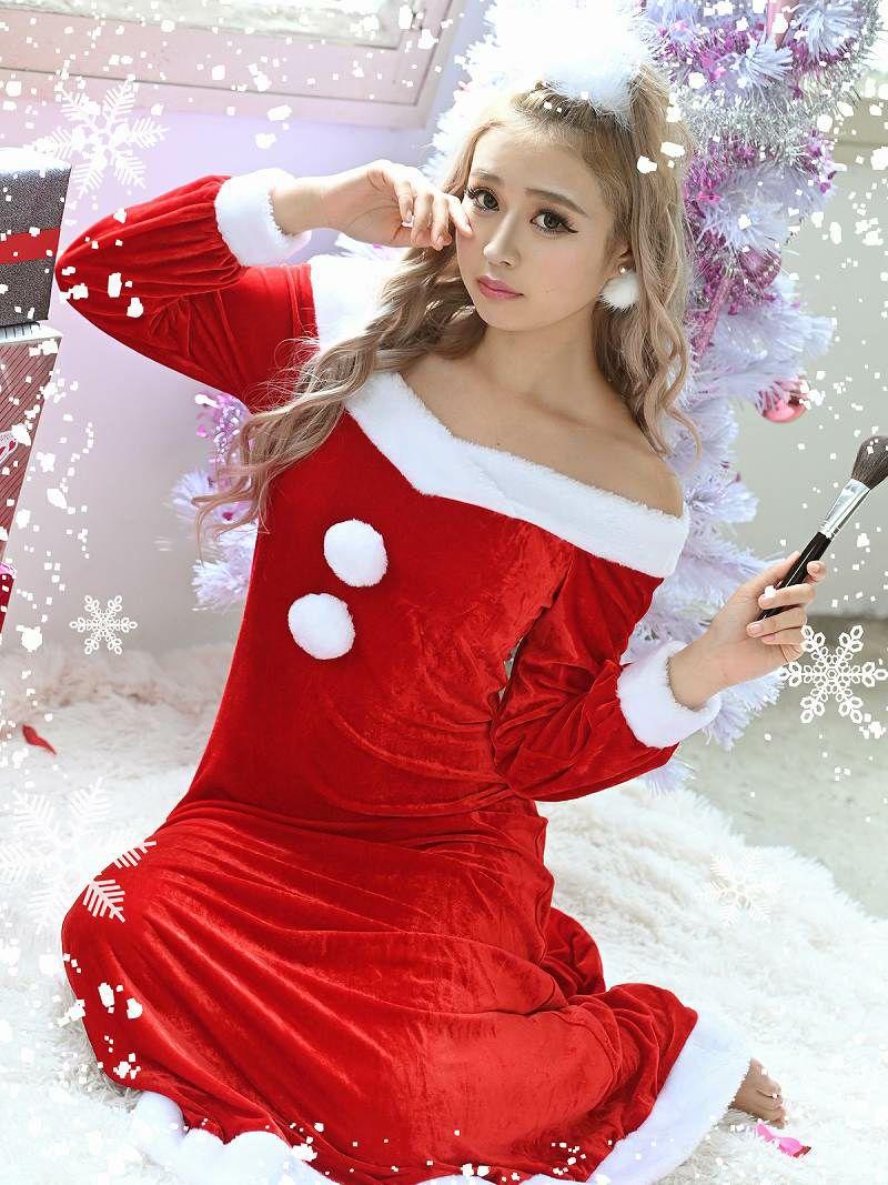 【即納】【サンタコスプレ1点セット】ルームウェア風オフショルダー長袖おうちサンタ 雨宮由乙花 着用キャバサンタ体型カバーロング丈サンタワンピース キャバクライベントやクリスマスパーティーに◎