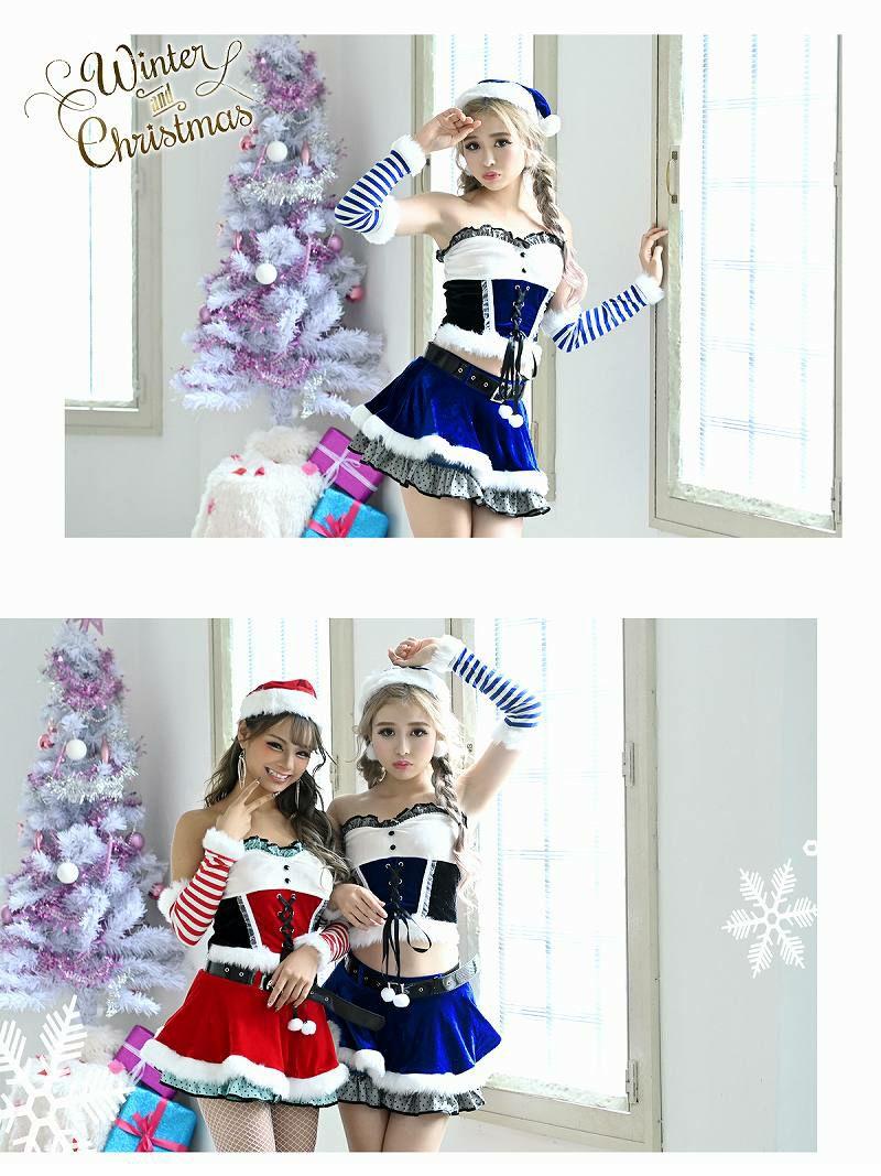【即納】【サンタコスプレ5点セット】バズり度100%!コルセット風ドールベアサンタコスプレ キャバクライベントやクリスマスパーティー
