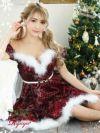 【即納】【サンタコスプレ2点セット】フラワー刺繍スパンコールキャバサンタ 膝丈Aラインオフショルダーサンタコス キャバクライベントやクリスマスパーティーに◎