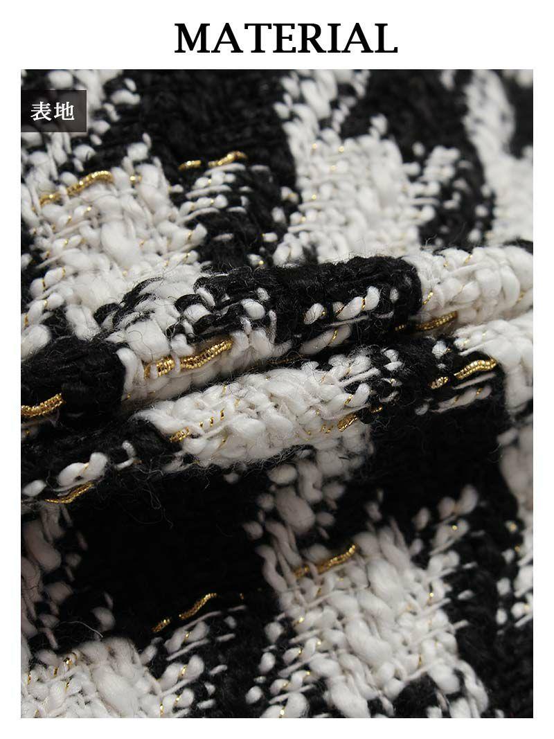 結婚式・お呼ばれに!千鳥柄ツイード刺繍キャバスーツ【Ryuyu】【リューユ】ノーカラーミニ丈ナイトスーツ 式スーツ