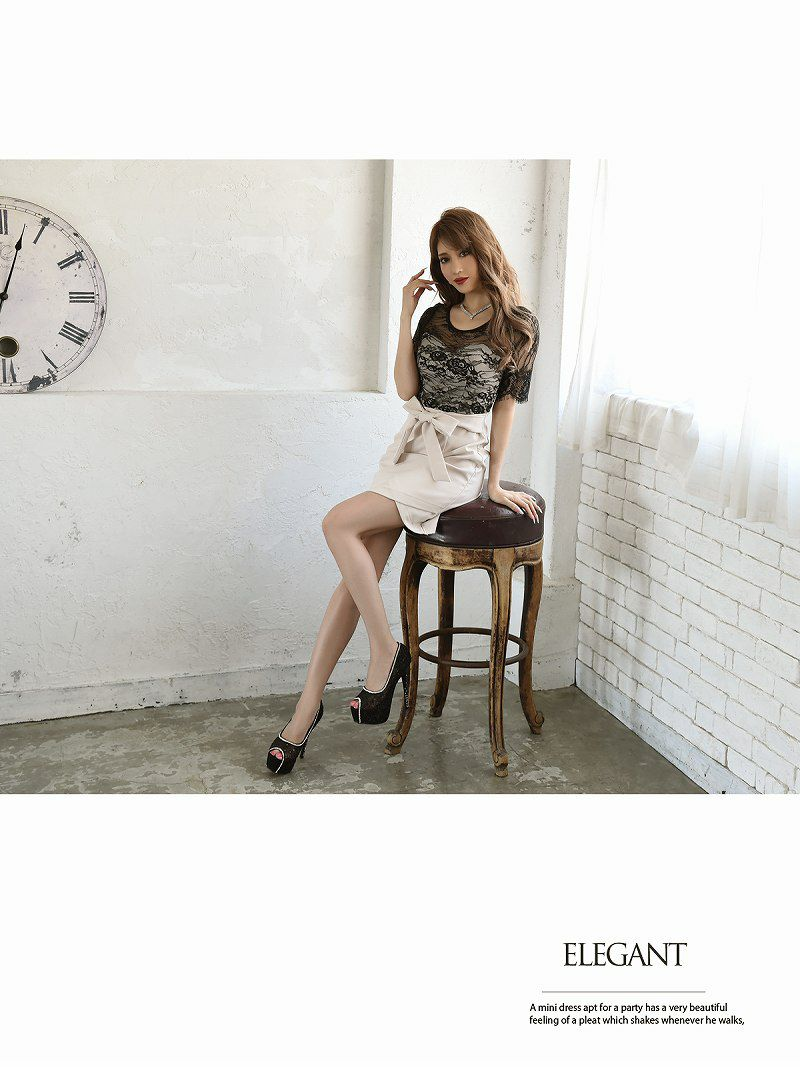 XS/XLサイズ追加【Belsia】ウエストリボン袖付きキャバクラドレス 加賀美早紀 着用ドレス 透けレース五分袖バイカラーミニドレス【ベルシア】