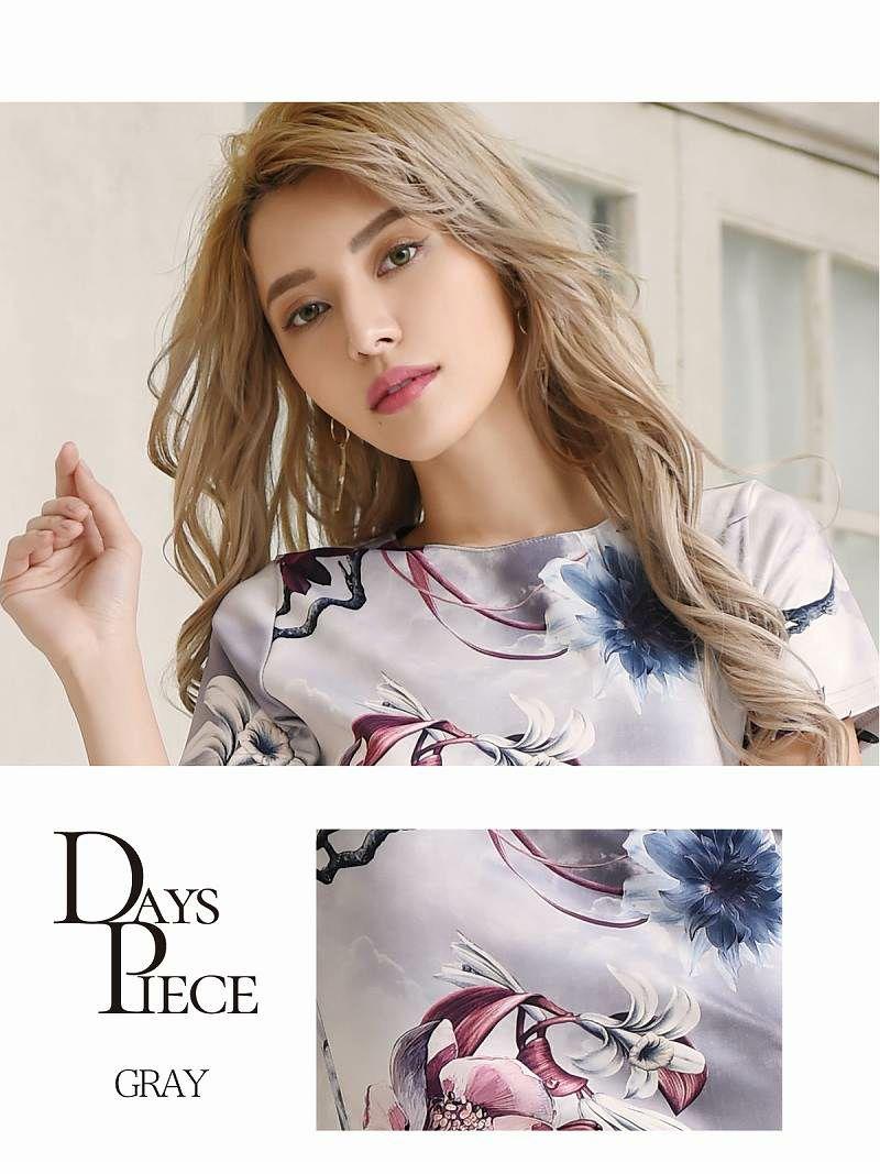 韓国テイスト花柄袖付きタイトキャバワンピース【DAYS PIECE/デイズピース】(S/M/L/XL)(ブラック/グレー)
