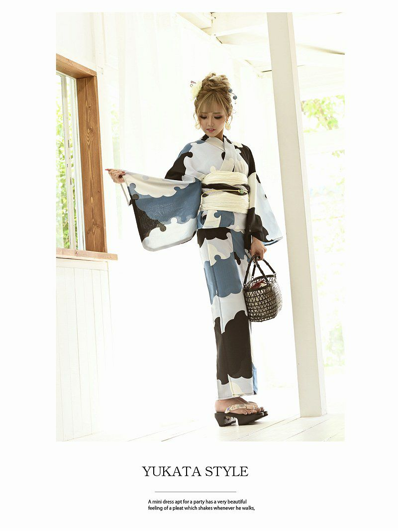 【即納】ブルー雪輪デザインレトロモダン浴衣 りせり 着用レディース浴衣3点セット(フリーサイズ)(ブルー)