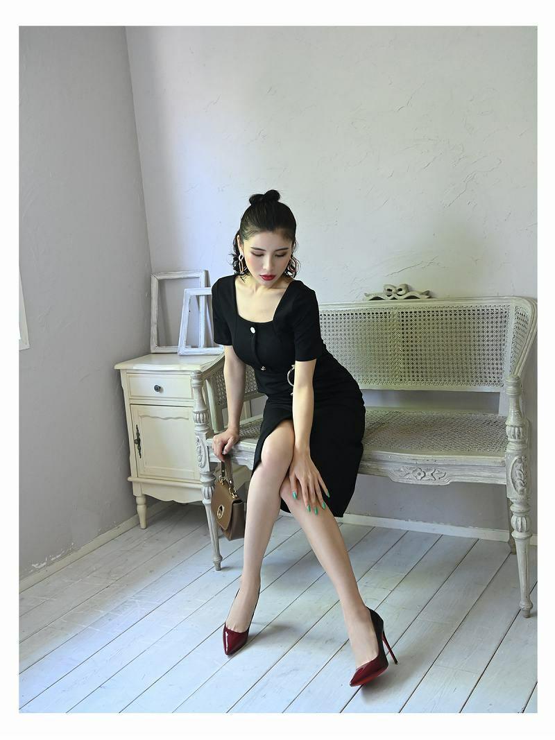 膝丈タイト半袖リングベルトキャバワンピース【DAYS PIECE/デイズピース】