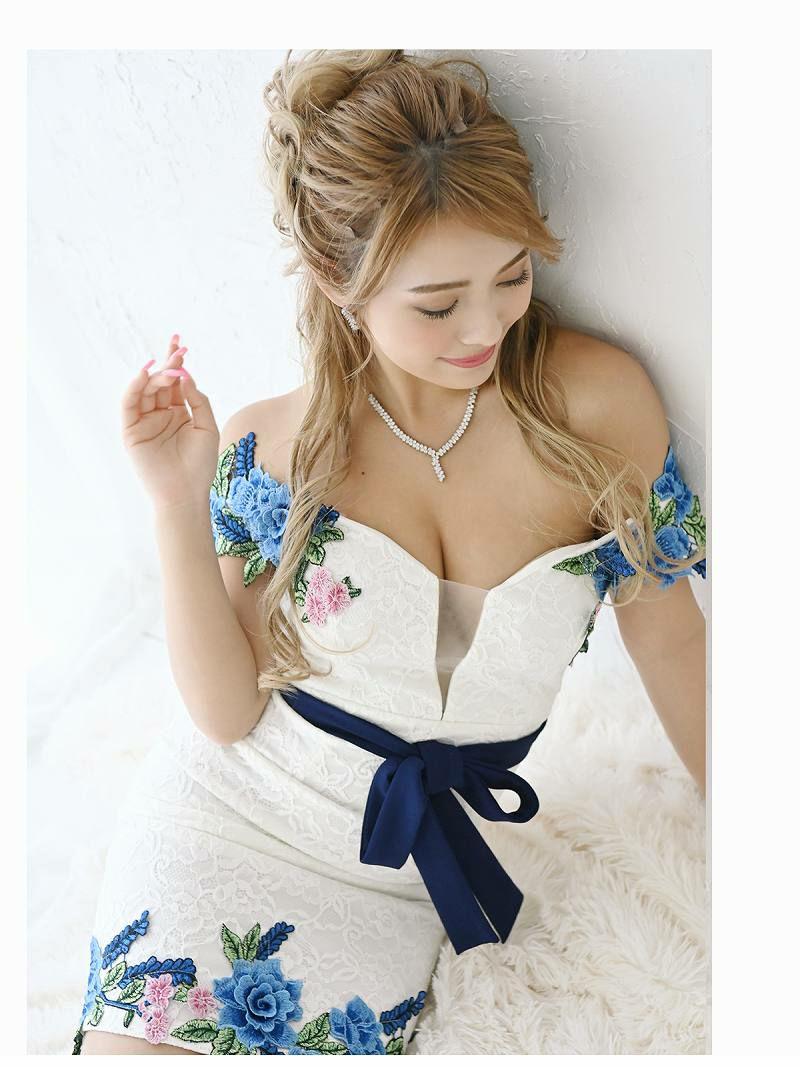 メッシュ谷間魅せ立体刺繍ミニドレス NATSUNE ゆきぽよ 着用キャバドレス【Ryuyu/リューユ】
