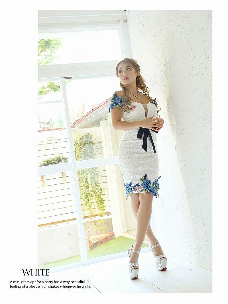 立体フラワー刺繍オフショルダーキャバドレス ゆきぽよ NATSUNE 着用キャバドレス【Ryuyu/リューユ】
