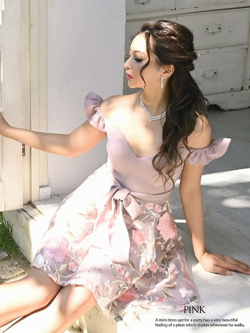 フラワー刺繍ウエストリボンフレアーミニドレス ゆずは 着用キャバドレス【Ryuyu/リューユ】