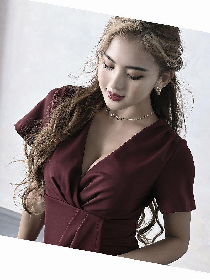 カシュクールVネックワンカラーキャバドレス【Ryuyuchick】【リューユチック】