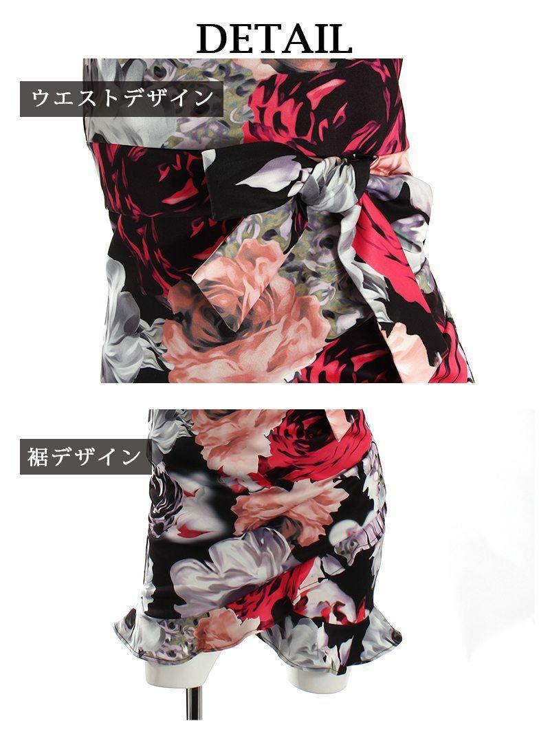 花柄フリルノースリーブミニ ゆきぽよ NATSUNE 着用キャバドレス【Ryuyu】【リューユ】