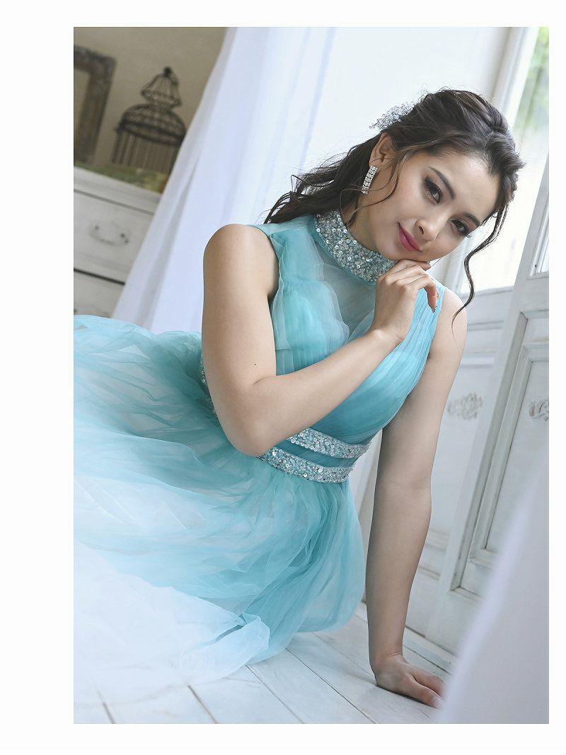 スパンコールハイネックプリンセスロングドレス ゆきぽよ 着用キャバクラドレス【Ryuyu/リューユ】