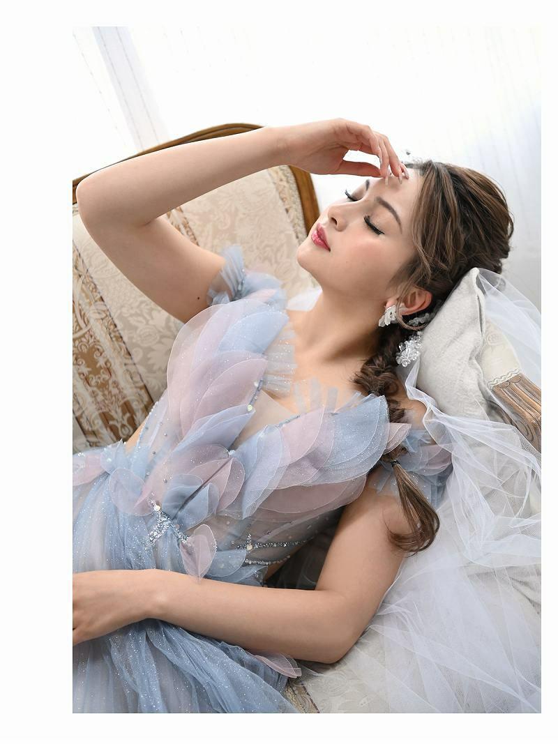 オフショルリーフラメプリーツロングドレス ゆきぽよ 着用キャバクラドレス【Ryuyu/リューユ】