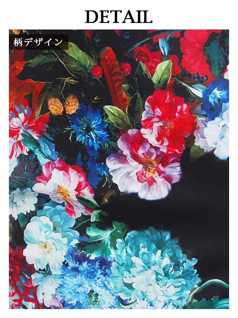 花柄プリント膝丈ラウンドネックキャバワンピース【DAYS PIECE/デイズピース】