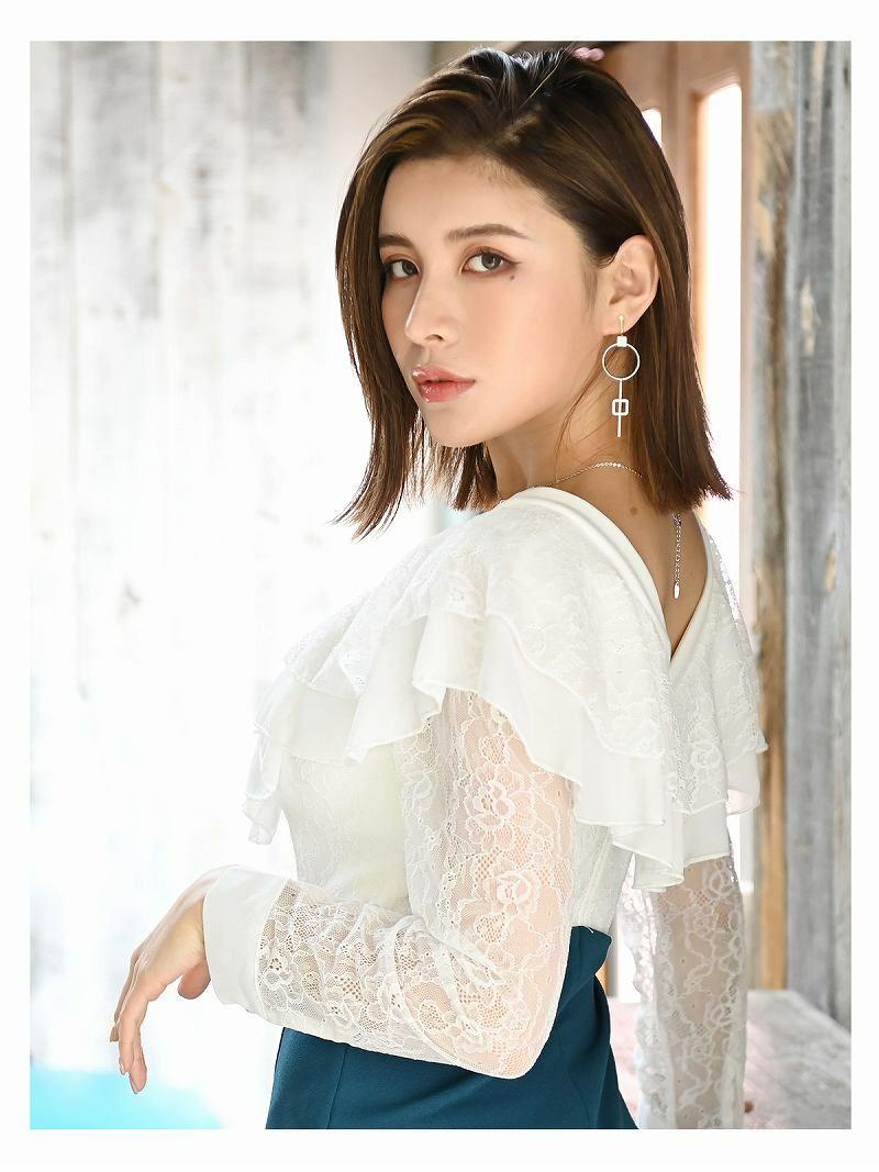 裾カッティングベルト風バイカラーキャバワンピース【DAYS PIECE/デイズピース】