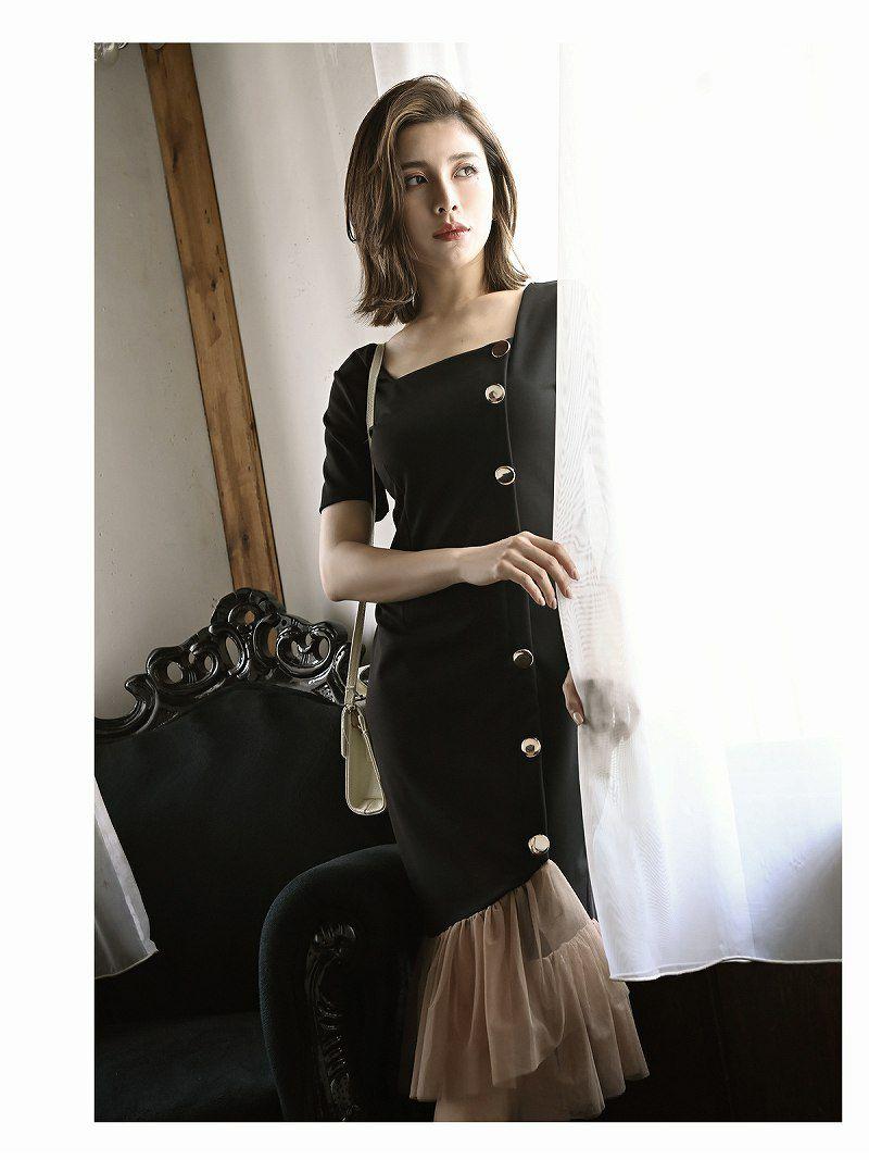 裾フリル半袖スクエアネックミニドレス【DAYS PIECE/デイズピース】
