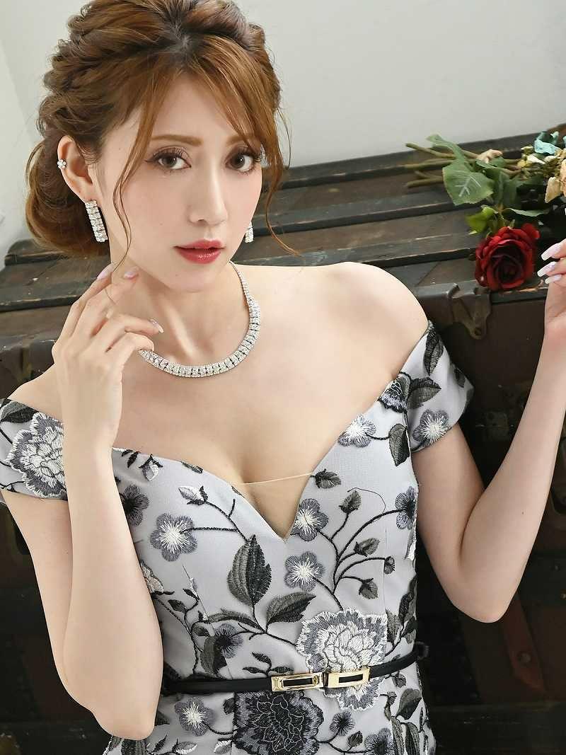 刺繍花柄総レースサイドシアーミニドレス 加賀美早紀 着用キャバドレス【Belsia/ベルシア】