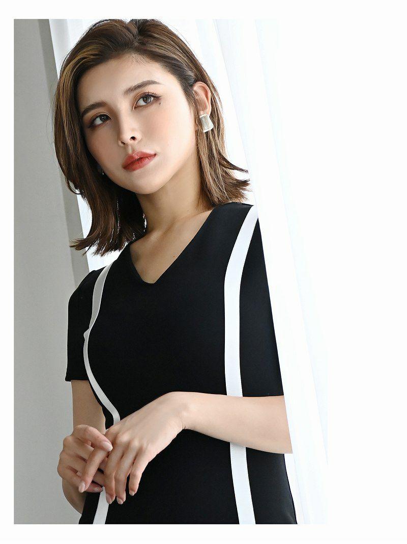 モノトーン袖付きVカット膝丈キャバワンピース【DAYS PIECE/デイズピース】